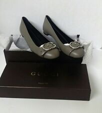 Gucci Women Leather Interlocking G Flat Sachalin Buckle Size 9 EUR 39 Taupe Bran