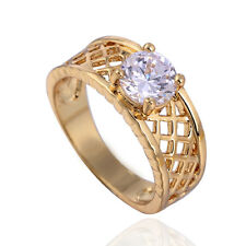 Hot clear crystal mens rings vintage ring size 8 Filigree Gold Plated Band Ring