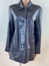 Ladies HELIUM Black Soft Leather Hip Length Coat Jacket Size 18
