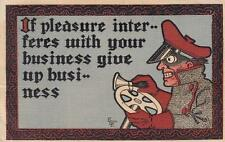 Antique COMIC POSTCARD c1907 Early Motorist If Pleasure Interferes 18959
