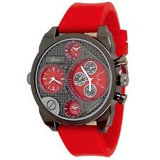 Dual Time Red Black Rubber Mens Geneva Watch Fashion Designer Silicone