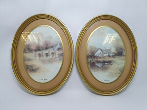 2 x Mike Knights Boots Co Plc Painting Print Oval Frames