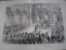 Sultan Abdul Hamid II of turkey opens parliament Istanbul 1877 old print ref W