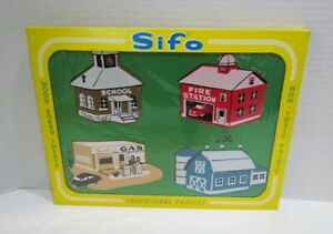 SIFO 1960's BUILDINGS WE SEE WOOD INLAY TRAY PUZZLE MIB UNUSED OLD STORE STOCK