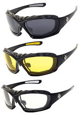 3 Pairs Choppers Motorcycle Padded Foam Wind Resistant Riding Glasses Sunglasses