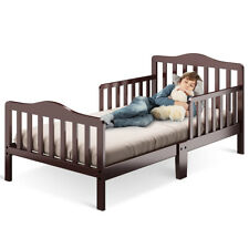 Classic Kids Children Toddler Wood Bed Bedroom Furniture w/ Guardrails Brown