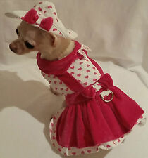 4 piece Harness set Miss Lady Love /dog dress/dog clothes/chihuahua/ xs,s,m, l