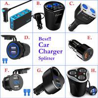 Car Charger USB Charging Port &Cigarette Lighter Splitter Adapter Socket Plug in