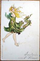 1902 Art Nouveau Postcard: Woman w/Leaf Clothing/Dress, 'L'Automne'- Color Litho