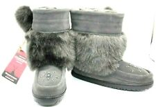 "NEW! MANITOBAH MUKLUKS ""TIPI"" SHORT GREY SUEDE BOOTS MEN'S SIZE 6 WOMEN'S SIZE 8"