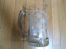"""Large Pitsburgh Steelers~ Etched Glass~Solid Beer Nfl Mug 7"""" Height~Great Gift"""