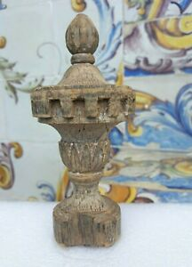 Antique Old Small Turned Wood Finial