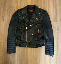 Trapstar Men's Black Leather Butter Soft Biker Jacket Rare Size 38