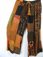 915P~TIENDA HO~Amber~HOBO BOHO crop PANTS~Hippy Rayon Patchwork~CLAM DIGGERS~OS