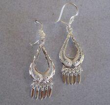 Mexican 925 Silver Taxco Filigree Open Teardrop Dangle Frida Style Earrings
