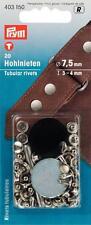 20 Hohlnieten silber Kappe 7,5 mm Tiefe 3-4mm  Prym 403150 Hohl Nieten Werkzeug