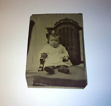 Antique Tintype Photo of Adorable Baby Holding Little Bell, Seated! Beautiful!