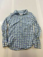 VINEYARD VINES WOMEN SIZE 00 BLUE & GREEN 1/4 BUTTON LONG SLEEVE PLAID SHIRT EUC