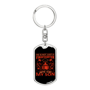Not Just A Firefighter Keychain Stainless Steel or 18k Gold Dog Tag Keyring