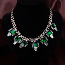 Costume Statement Necklace Short Gold Silver Art Deco Green Emerald Retro LL1