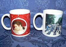 ELVIS PRESLEY & THE BEATTLES 10 OZ PAIR SET OF 2 COFFEE MUGS MUSIC LEGENDS