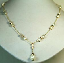 14K solid y/gold natural AAA freshwater white pearl elegant necklace 28 inches