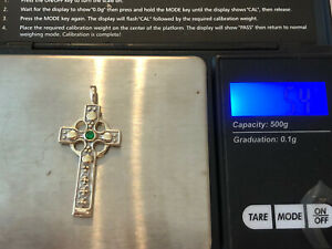 Fully Hallmarked Sterling Silver With Gold Overlay Celtic Cross