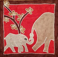 """Silk Cushion Cover from Kashmir Abstract Baby Elephant Design 18"""" x 18""""."""
