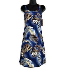 NEW Hilo Hattie Dresss XS Sleeveless Blue Guitar Floral Print