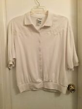 Napa Valley ladies knit top size XL, White on White, Short Sleeves, VGUC