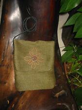 Green with Copper Flower Passport Bag