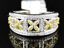 Ladies 10K White Gold Canary/White Diamond Engagement Fashion Designer Band Ring
