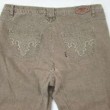 Zana Di Plus Size 20 Zip Fly Embroidered Back Pockets Light Brown Jeans