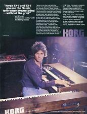 1982 Print Ad of Korg CX-3 & BX-3 Organ Keyboard w Ian McLagan of Rolling Stones