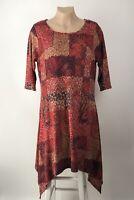 Mille Gabrielle Dress Size 2X Multi-color Paisley Asymmetric 3/4 Sleeve