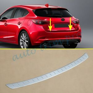 For Mazda 3 Hatchback 2017 2018 Rear Gate Bumper Sill Protect Cover Trim Steel