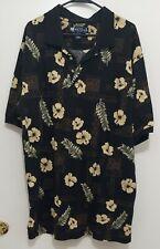 Vintage 90s Big Dog Clothing Co. Polo Shirt Mens XL Hawaiian Floral 100% Cotton