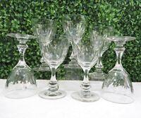 Set of 7 Vintage Clear Cut Crystal Stemmed Wine Glasses Goblets, 4 oz, Exc Cond