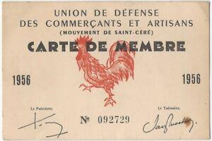 France 1956 Union de Defense des Commercants et Artisans French Membership Card