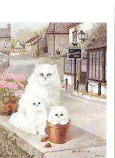 Set of 5 Prints Three White Fluffy Cats by Ruane Manning for Decoupage
