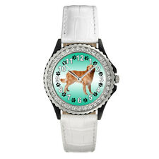 Hovawart Dog Breed Round Cubic Zirconia Leather Strap Women's Wrist Watch Sgp386