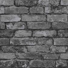 New Fine Decor Distinctive Natural Rustic Brick Wallpaper Charcoal/Black FD31284