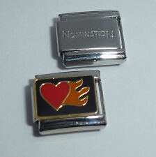 FLAMING HEART 9mm Italian Charm + 1x Genuine Nomination Classic Link LOVE FLAMES