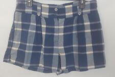 APC Madras Womens Plaid Shorts Cotton Blue Gray Pleated Size 4 new