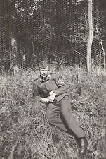 WWII German Luftwaffe RP- Soldier- Hat- Uniform- NCO- Poses on Ground by Fence