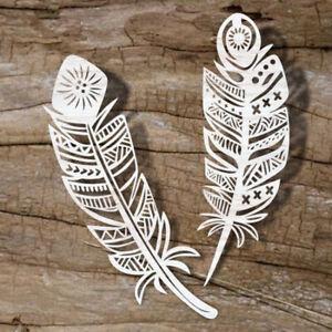 2pc 25cm Large Wood Feather Shape Decor Wedding Hanging Embellishment Craft