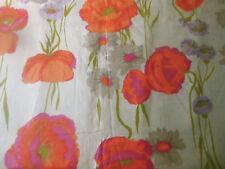 Vintage Retro Mod 60's Floral Poppy Cotton Fabric ~ Orange Lavender Pink Gray