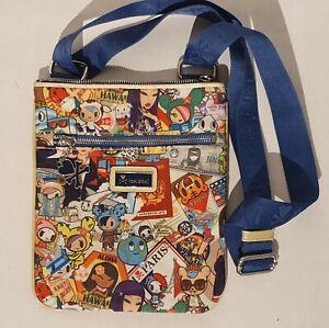 Tokidoki Rambler Shoulder Bag Travel Print Zipped Pocket Rare Designer