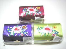 3 pc Red Purple Green Silk Cosmetic Box Double Lipstick Case