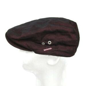 Kangol L Indigo Linen Hudson Cap Hat Snap Brim Burgundy Purple Plum